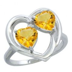 10K White Gold Heart Ring 6mm Natural Citrine Diamond Accent. This beautiful ring is solid 10K Gold and made in the USA, with Genuine Diamonds, Natural Gemstones.