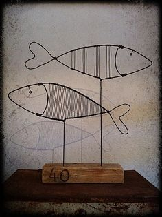. Sculptures Sur Fil, Fish Sculpture, Wire Sculptures, Abstract Sculpture, Wood Sculpture, Bronze Sculpture, Old Lamp Shades, Modern Lamp Shades, Old Lamps