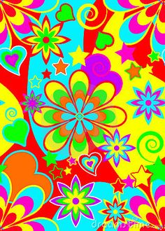 Illustration about Groovy hippy style psychedelic pattern in vivid bright colours. Illustration of paper, cards, pattern - 13668663 Colorfull Wallpaper, Emo Wallpaper, Wallpaper Backgrounds, Wallpapers, Heart Wallpaper, 60s Art, Hippie Party, Institute Of Contemporary Art, Hippie Peace