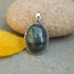 Natural Labradorite Gemstone Pendant in Silver by FineSilverStudio