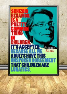 """Stephen King printable instant download poster - good for decorating any interior - either in your homes and offices or in your shops, cafes, bookstores, dorms, etc. By pahleeloola. Use the coupon code, """"PIN10"""" for 10% off on your entire purchase! Click to buy and print!"""