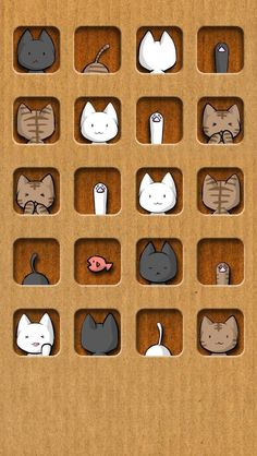 iPhone 5 | brown background and cute cats icon wallpaper