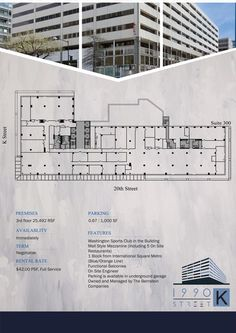 A downtown office building needs a leasing flyer by ASHWI