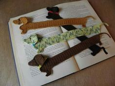 Dachshund book mark crochet Pattern is in dutch but this link has a helpful table in the comment section for dutch to english crochet terms)