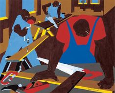 """""""One of America's leading modern figurative painters,"""" Jacob Lawrence was deeply influenced by the colors and shapes of Harlem, and one of America's """"most impassioned visual chroniclers of the African-American experience. African American Artist, African American History, American Artists, African Art, Jacob Lawrence Art, Famous Black Artists, 365days, Great Works Of Art, Afro Art"""
