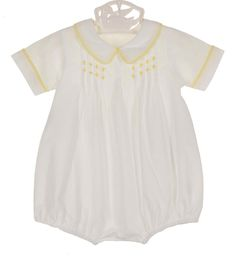 NEW Remember Nguyen (Remember When) Vintage Style White Cotton Pintucked Romper with Yellow Embroidery $40.00
