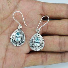 Blue Topaz earrings Natural Gemstone Silver by DevmuktiJewels