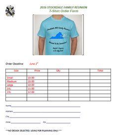 Reunion T-Shirt Order Form 1 | T-Shirt Order Forms | Pinterest ...