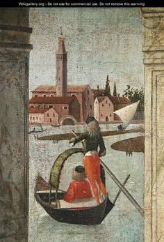 The Arrival of the English Ambassadors, from the St. Ursula Cycle, detail of a gondola, 1490-96 - Vittore Carpaccio