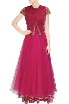 Magenta layered net anarkali with velvet embroidered jacket available only at Pernia's Pop Up Shop.