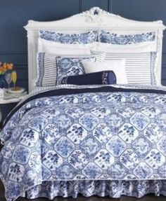 Ralph Lauren + Delft Bedding: I used sheets from this collection as my custom made dining room drapes!