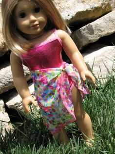 "Swimsuit and Sarong for American Girl Doll Clothes / 18"" Doll clothing - Bright Shiny Pink"