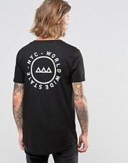 ASOS Longline T-Shirt With Stretch Neck And Back Print
