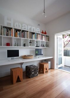 Love the cube wall shelving at a nice height above the desks.  Looking at doing this with Expedit shelving from Ikea. Sign up for free to get cashback on your online shopping purchases or become a VIP to get MAXIMUM cashback