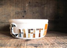 Vintage Upcycled Mosaic Stoneware Cat Bowl  Le by rushcreekmosaics