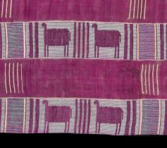 Detail: Figurative designs on early Yoruba aso oke are extremely rare. This C19th example, now in the Musee du Quai Branly, Paris, has weft float motifs representing horses woven in silk on a hand spun cotton ground. The all silk strips with narrow float patterns in the weft are also a rare feature.