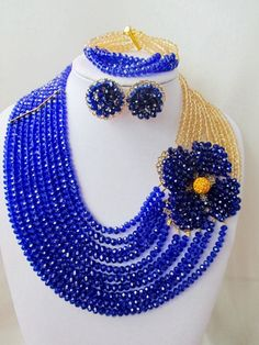 Fashion Trendy Nigeria Wedding african beads jewelry set Blue Crystal necklace Bridal Jewelry Sets Free shipping MO-694