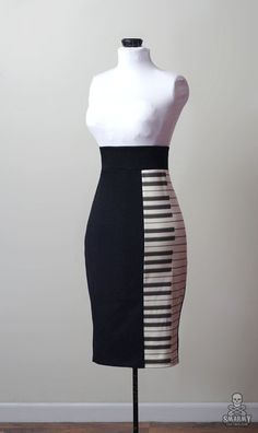 piano key rockabilly pencil skirt zipper back by smarmyclothes