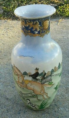 Vintage Porcelain Vase With British Fox Hunting Scenes in Collectibles, Decorative Collectibles, Vases | eBay