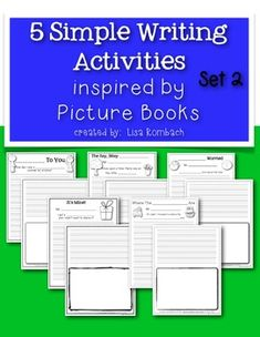 5 Simple Writing Activities Inspired by Picture Books SET 2 (5 prompts to use after reading 5 literature books) $