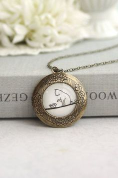 My Lovely Cat Locket Necklace. Round Antiqued Brass