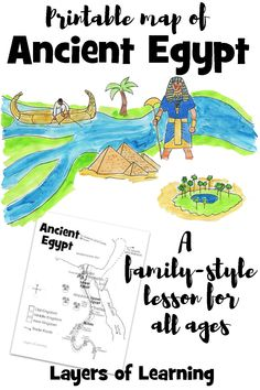 A printable map of ancient egypt to color. Includes books for different ages of learners. Meant to be used with multiple ages so the whole family can do the same lesson. Ancient Civilizations Lessons, Ancient Egypt Lessons, Ancient Egypt Activities, Ancient Egypt Crafts, Ancient Egypt For Kids, History Activities, Learning Activities, Ancient History, European History