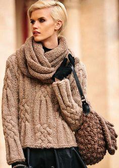 Schöne Pullover weich und Warm, das wird sein eine gute Ergänzung zu Ihrer Wintergarderobe. Der Pullover hat einen Schal separate darauf, die Sie herunterladen können. Der Pullover besteht aus 70 % Acryl und 30 % Alpaka. Größe der Schal 40/140 cm. Wenn Sie die Tasche und können es