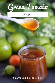 Green Tomato Jam - don't know what to do with those green tomatoes? Green Tomato Jam - don't know what to do with those green tomatoes? Green Tomato Jam - don't know what to do with those green tomatoes? How about make Jam! Green Tomato Jam Recipe, Green Tomato Relish, Green Tomato Recipes, Tomato Sauce Recipe, Jelly Recipes, Jam Recipes, Canning Recipes, Sauce Recipes, Fruit Recipes