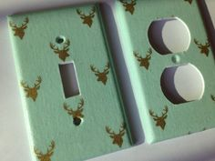 Mint green background with metallic gold deers. Super cute addition to any decor.    *** please use the drop down menu to make your size