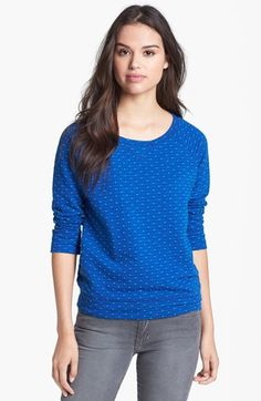 Caslon® Three Quarter Sleeve Cotton Sweatshirt available at #Nordstrom