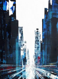 Art painting City - Dulm New York City buildings, blue tone. City Painting, Urban Art Painting, New York Painting, Skyline Painting, Cityscape Painting, Building Painting, Abstract City, Architecture Painting, Abstract Art Landscape