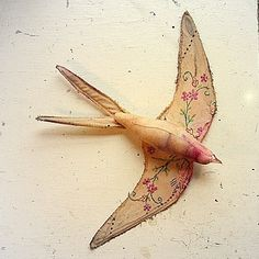 Swallow soft sculpture made from vintage tablecloth by MisterFinch