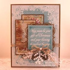 Our Daily Bread Designs Stamp sets: Snowflake Border Background, Christmas Blessings, Our Daily Bread Designs Paper Collection: Christmas 2014, Our Daily Bread Designs Custom Dies: Boho Background, Layered Lacey Squares, Pinecones, Lovely Leaves