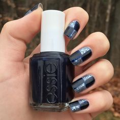 Check mate. This gorgeous patchwork design with a smokey stone rose 'petal pushers' and an academy blue-black 'after school boy blzer' topped with some platinum sparks makes for a fun nail art look.