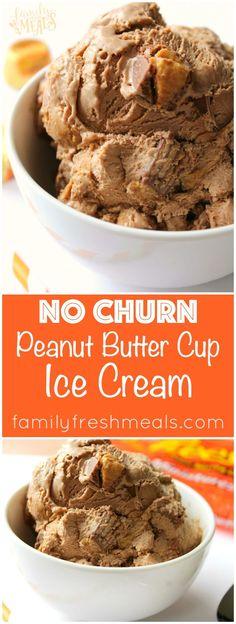 Easy No Churn Peanut Butter Cup Ice Cream Recipe - http://FamilyFreshMeals.com