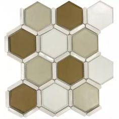 Water Chestnut Hexagon Bronze/Copper Glossy Glass & Metal Tile