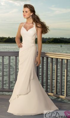 Shop affordable Sheath Column V-neck Halter Chiffon Wedding Dress at June Bridals! Over 8000 Chic wedding, bridesmaid, prom dresses & more are on hot sale. Wedding Dress Chiffon, Wedding Dress Train, White Wedding Dresses, Cheap Wedding Dress, Bridal Dresses, Wedding Gowns, Bridesmaid Dresses, Prom Dresses, Dresses 2014