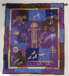 Purple Blue and Gold Southwest Petroglyphs Art by SouthwestQuilts, $125.00