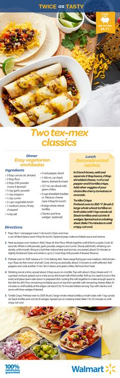 Either way, these Mexican-inspired dishes will please the entire family at mealtime! Easy Vegetarian Lunch, Vegetarian Recipes, Cooking Recipes, Healthy Recipes, Vegetarian Enchiladas, Canapes, Yummy Eats, Meals For One, Vegetarische Rezepte