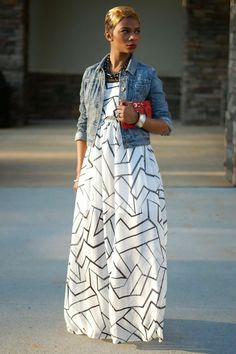 Black and white graphic dress + denim jacket! #nice #outfit