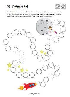 werkblad kleuters ruimte dobbelen Space Activities For Kids, Kindergarten Activities, Preschool, Teaching Numbers, Teaching Phonics, Space Party, Space Theme, Numicon, Vernal Equinox