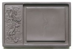 6 inches Chinese Zhaoqing Carved Dragon Duan Yan ink stone 15.2*10*1.8cm slab