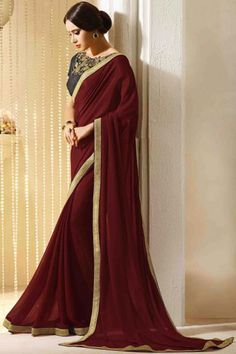 Buy Maroon Georgette Designer Saree Online in low price at Variation. Huge collection of Designer Sarees for Wedding. #designer #designersarees #sarees #onlineshopping #latest #lowprice #variation. To see more - https://www.variationfashion.com/collections/designer-sarees