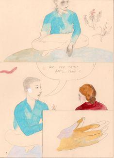 The Blonde Woman – Part 2 – by Aidan Koch Aidan Koch, Illustration Story, Blonde Women, Graphic Novels, Flat Color, Character Drawing, Painting Patterns, Zine, Art Ideas