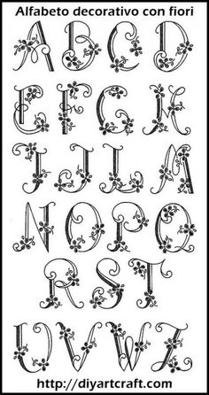 63 Ideas For Embroidery Letters Patterns Alphabet Alphabet Design, Hand Lettering Alphabet, Calligraphy Letters, Monogram Letters Font, Pretty Fonts Alphabet, Calligraphy Flowers, Doodle Alphabet, Flower Alphabet, Flower Letters