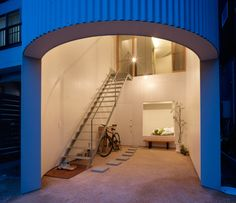 HOUSE IN CHIGASAKI  Architect: Design Office  Location: Chigasaki, Kanagawa, Japan  Year built: 2011  Their solution was to insert a slender rectangular steel frame in a rectangular footprint with elliptical ends.