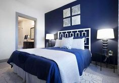 Dark Blue Bedrooms, Blue Master Bedroom, White Wall Bedroom, Blue Bedroom Walls, Blue Bedroom Decor, Master Bedroom Makeover, Blue Rooms, Bedroom Colors, Modern Bedroom