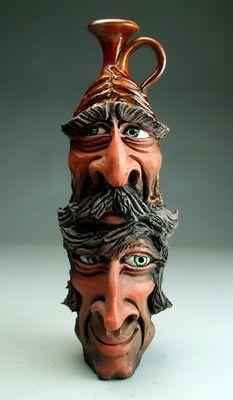 Father Son Double Face Jug Raku Pottery Folk Art Sculpture by Grafton | eBay