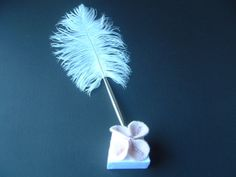 Pen and Stand Pink Silver White Feather by ArtisanFeltStudio, $22.00