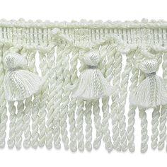 Conso 3 inch Tassel Bullion Fringe Trim - White - Trims By The Yard Tassel Curtains, Fringe Trim, Gift Certificates, White Trim, Home Decor Items, Decorative Items, Embellishments, Tassels, Crafty